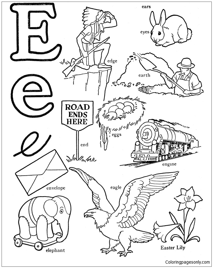 Words That Start With Letter E Coloring Pages Alphabet Coloring Pages Free Printable Coloring Pages Online
