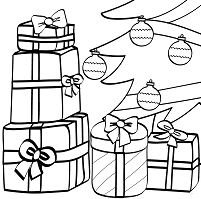Wrapped Gifts And Xmas Tree