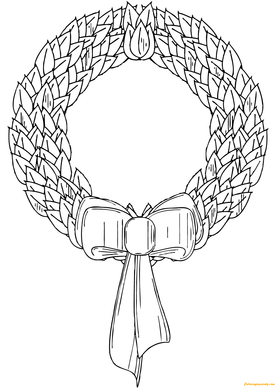 Wreath For Xmas Holiday Coloring Page