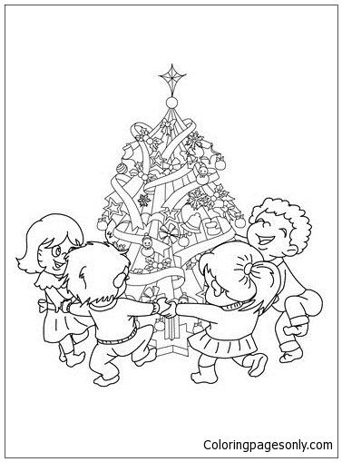 Xmas Tree With Kids Around Coloring Page