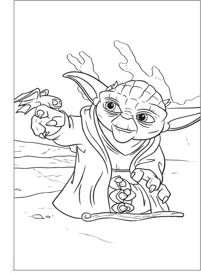Yoda and Dragon Coloring Page