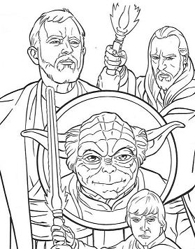 Yoda And Jedi Knights  Coloring Page