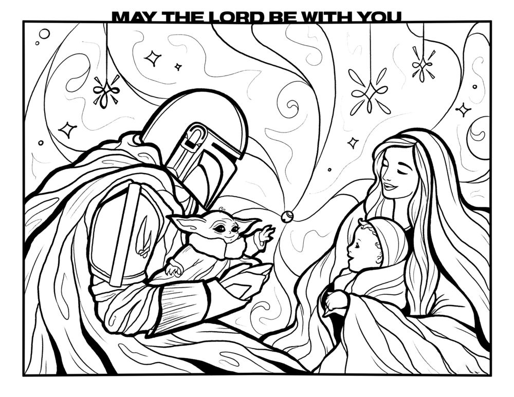 Yoda family Coloring Page