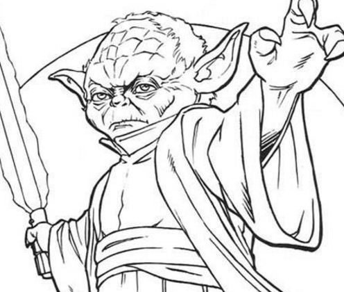 Yoda With A Sword Coloring Page