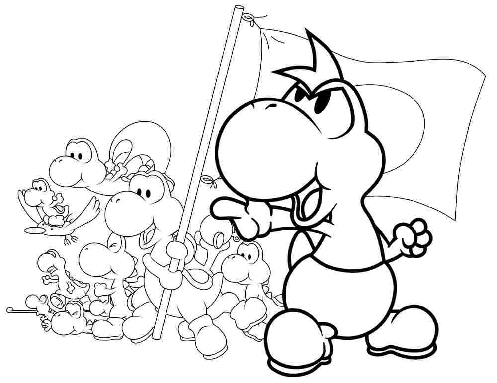 Yoshi is born to be leader in Super Mario Bros Coloring Page