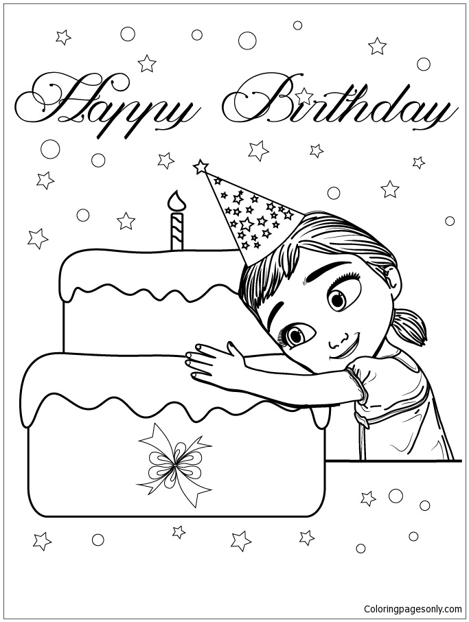 Young Anna Loves Cake Coloring Page