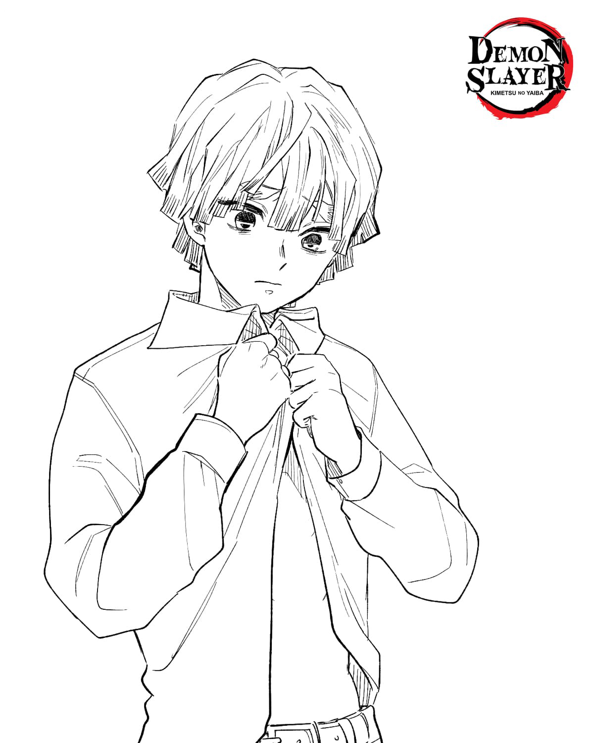 Zenitsu Highschool boy Coloring Page