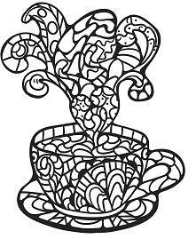 Zentangle Coffee Cup Desserts Coloring Page