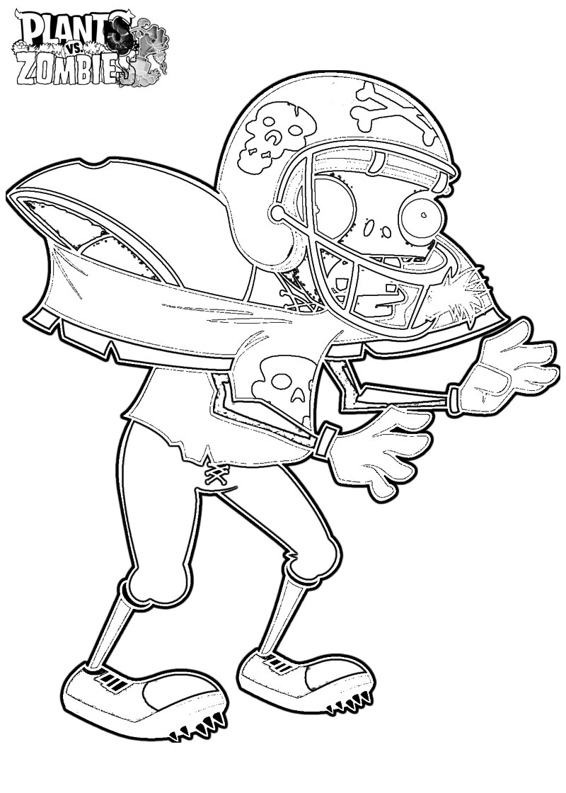 Football Zombie Coloring Page