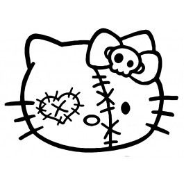 Zombie Hello Kitty Face Decal Coloring Page