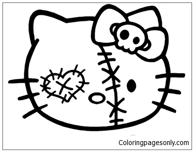 Zombie Hello Kitty Face Decal Coloring Pages