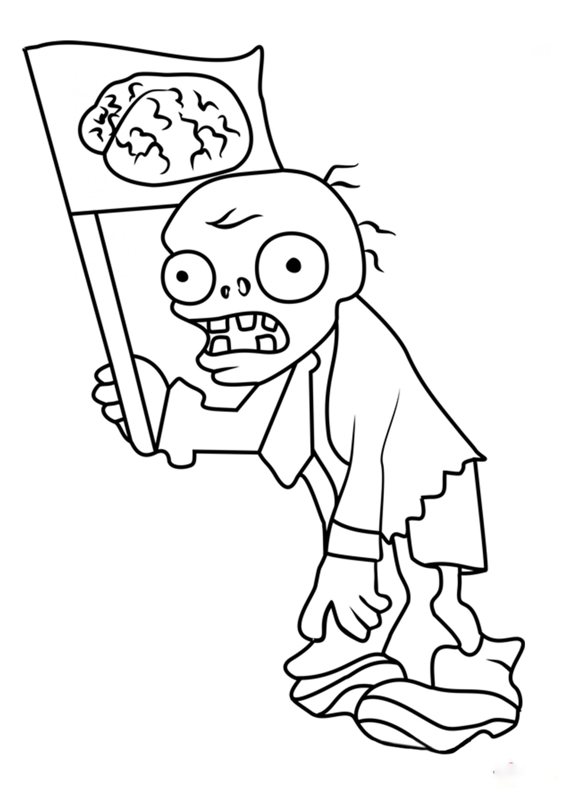Flag Zombie Coloring Page