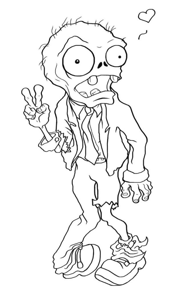 Zombie says hi Coloring Page