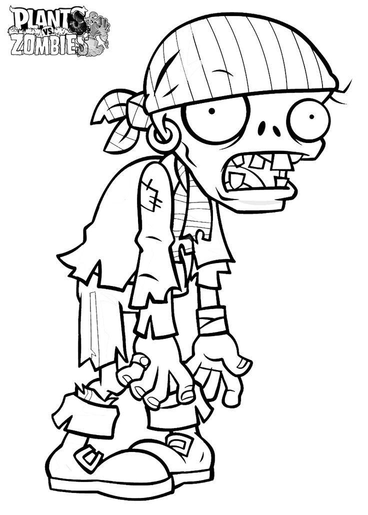 Pirate Zombie Coloring Page