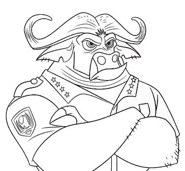 Zootopia Bogo Chief Coloring Page