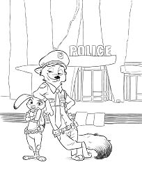 Zootopia Nick Wilde And Judy Hopps Coloring Page