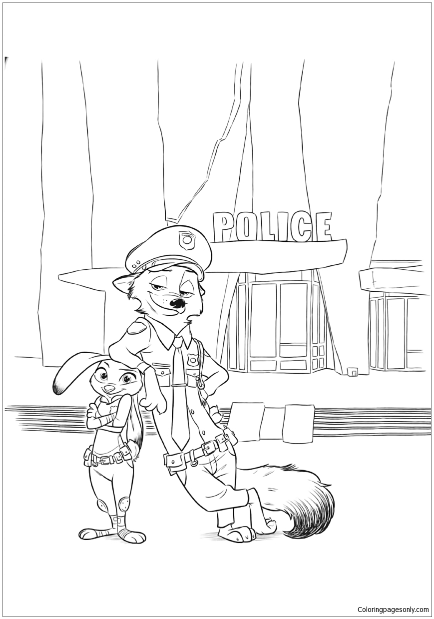 Zootopia Nick Wilde And Judy Hopps Coloring Page Free