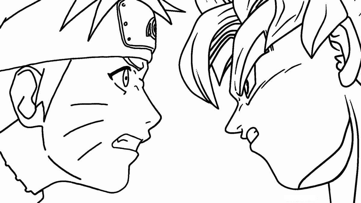 Uzumaki Naruto versus Songoku Coloring Page