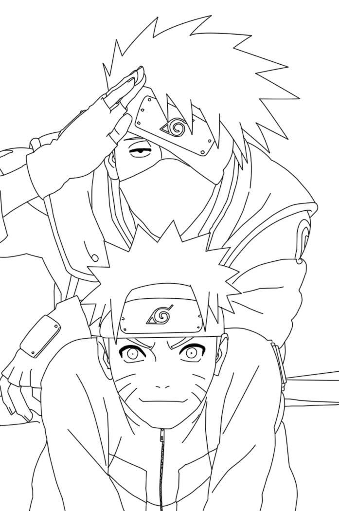 Kakashi Sensei and Naruto in classroom Coloring Page