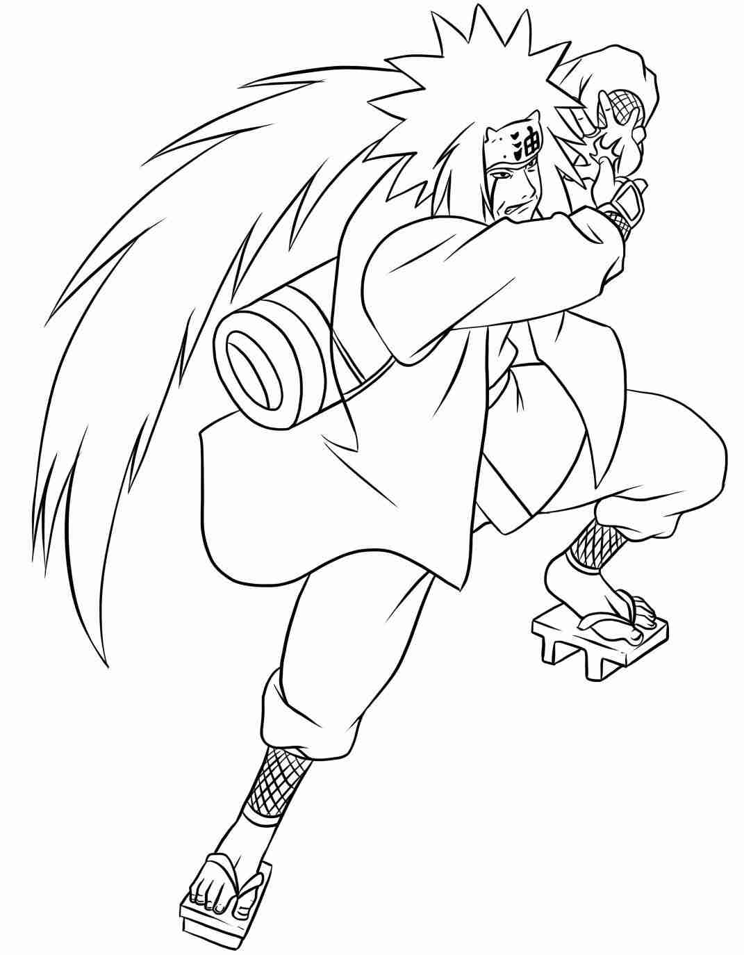 Jiraiya from Naruto has a long hair Coloring Page