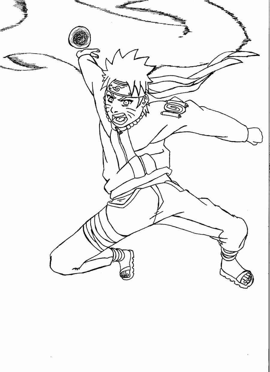 Naruto uses Fuuton Rasenshuriken in Naruto Shippuuden Coloring Page