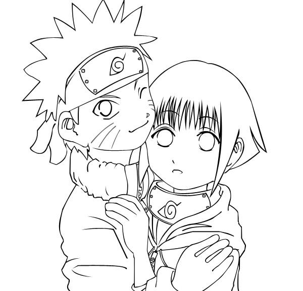 Naruto hugs Hinata from Anime Naruto Coloring Page