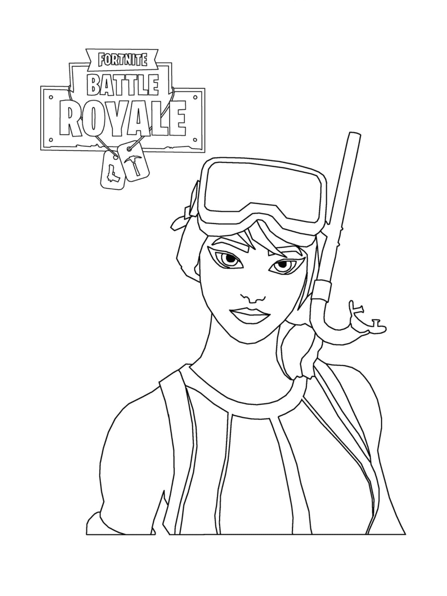 Snorkel Ops is a dark-haired woman wearing swimsuit Coloring Page