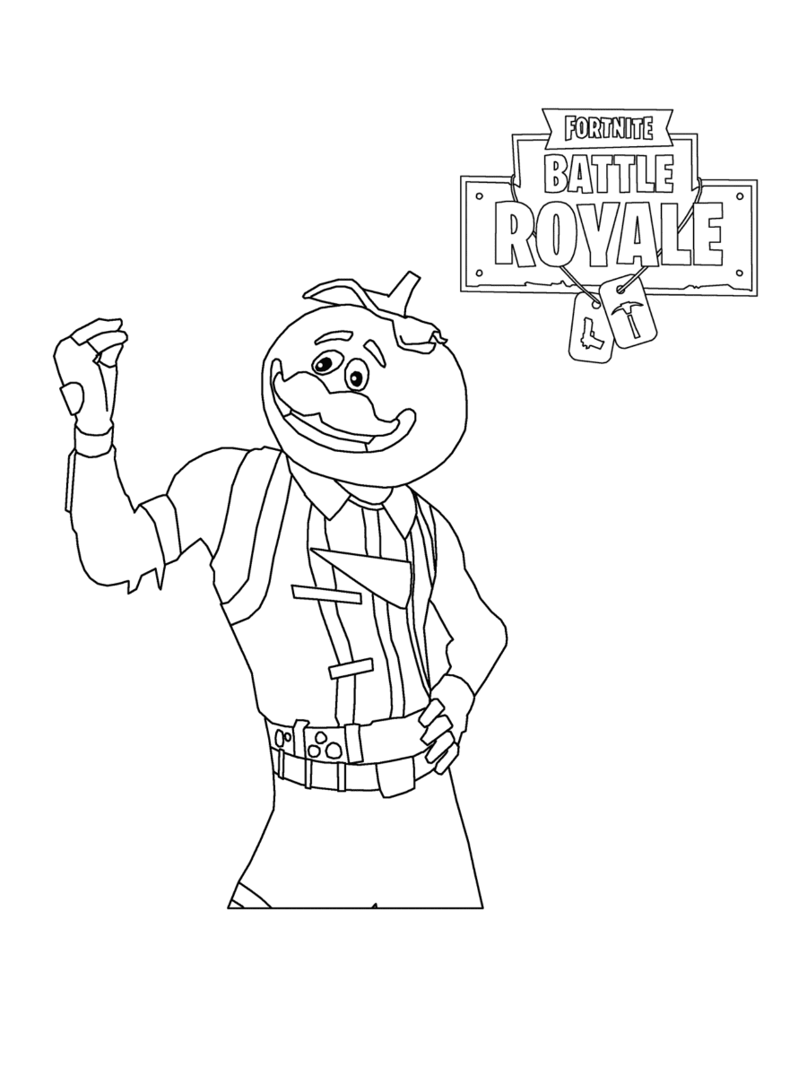Fortnite Tomato Head has bright teal tights and a red pizza vest Coloring Page