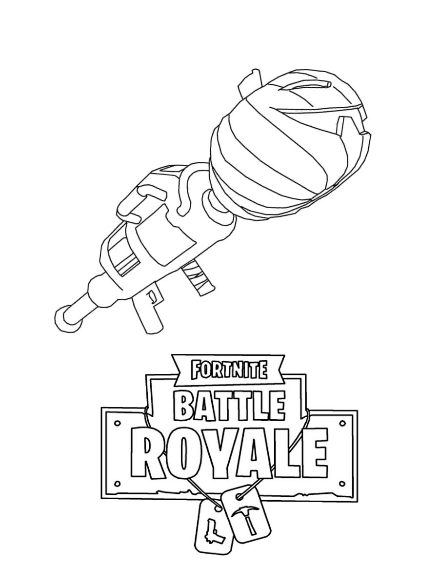 Pumpkin Launcher Weapon from Fortnite Coloring Page