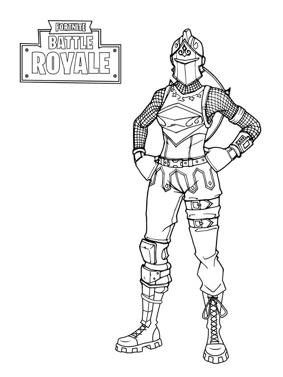 Red Knight brings Red Shield from Fortnite Coloring Page
