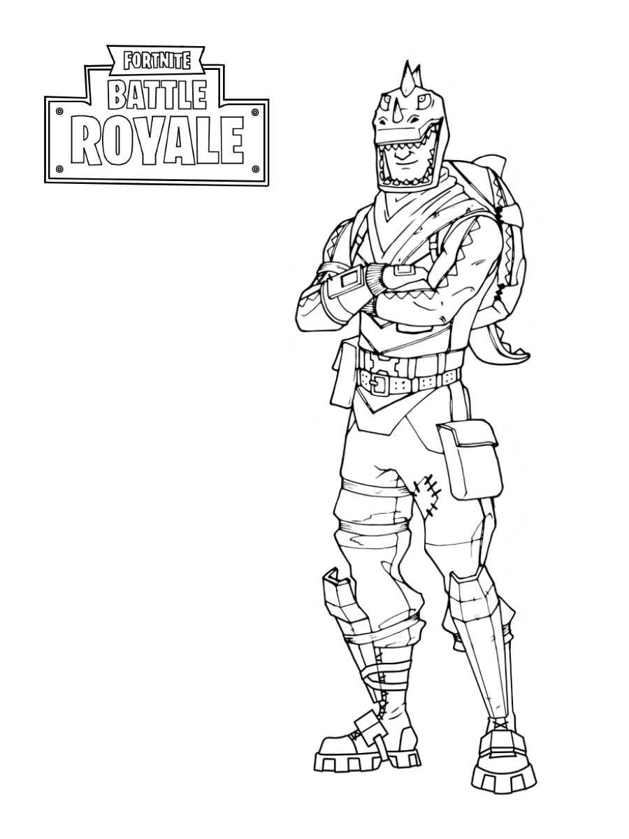 Fortnite Rex is wearing Dino Guard set Coloring Page