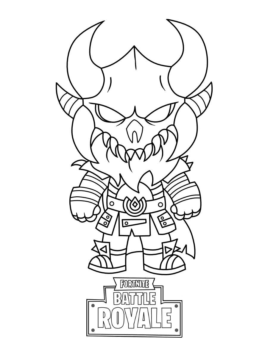 Fortnite Chibi Magnus wears a Viking helmet and Nordic raider armor suit Coloring Page