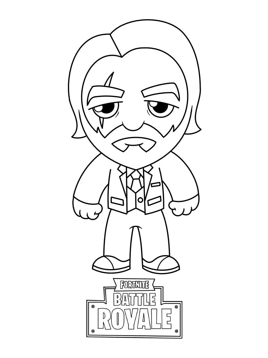 Sad Chibi Reaper from Fortnite Coloring Page