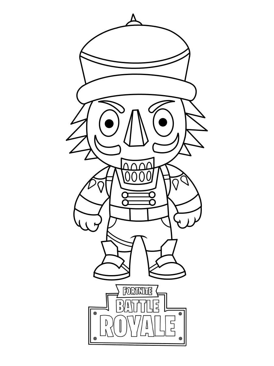 Chibi Cute Crackshot from Fortnite Games Coloring Page