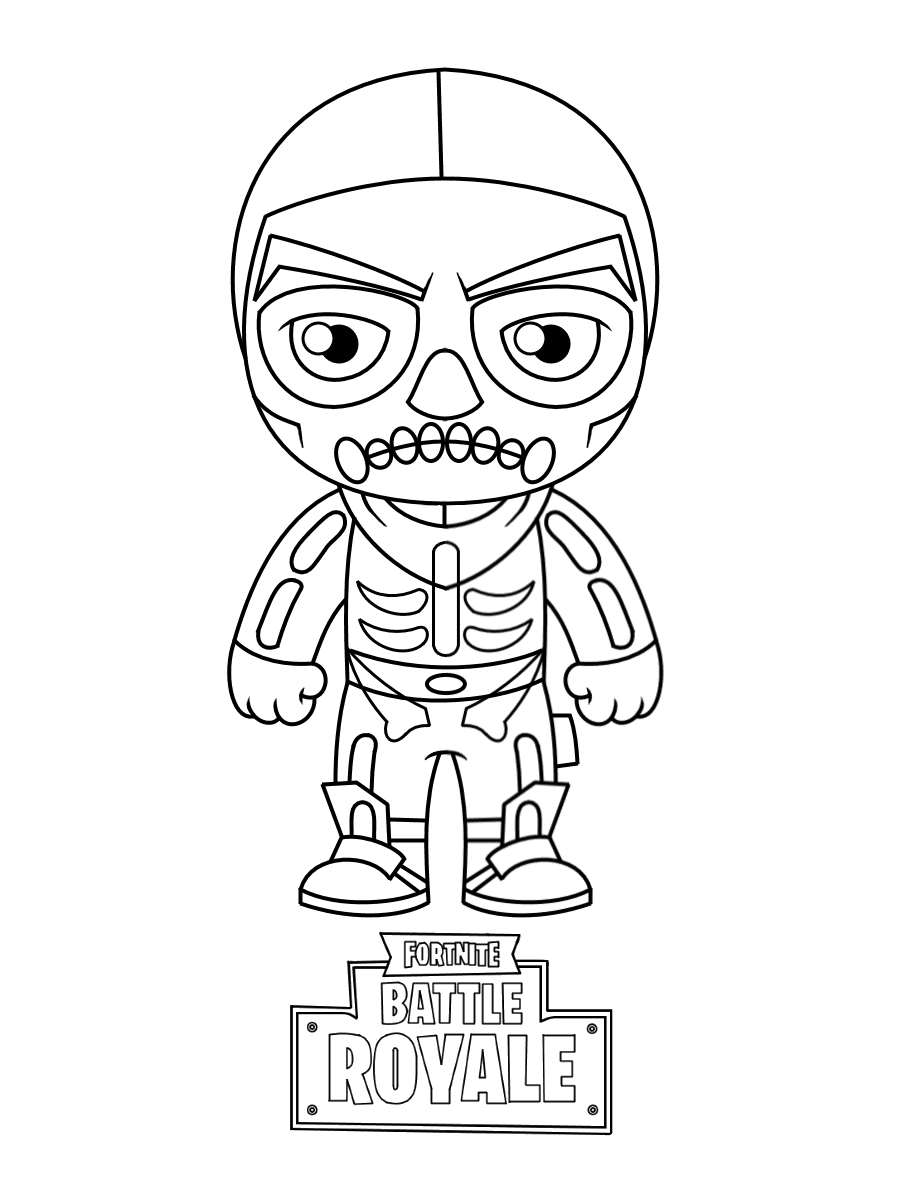 Chibi Skull Trooper from Fortnite Coloring Page