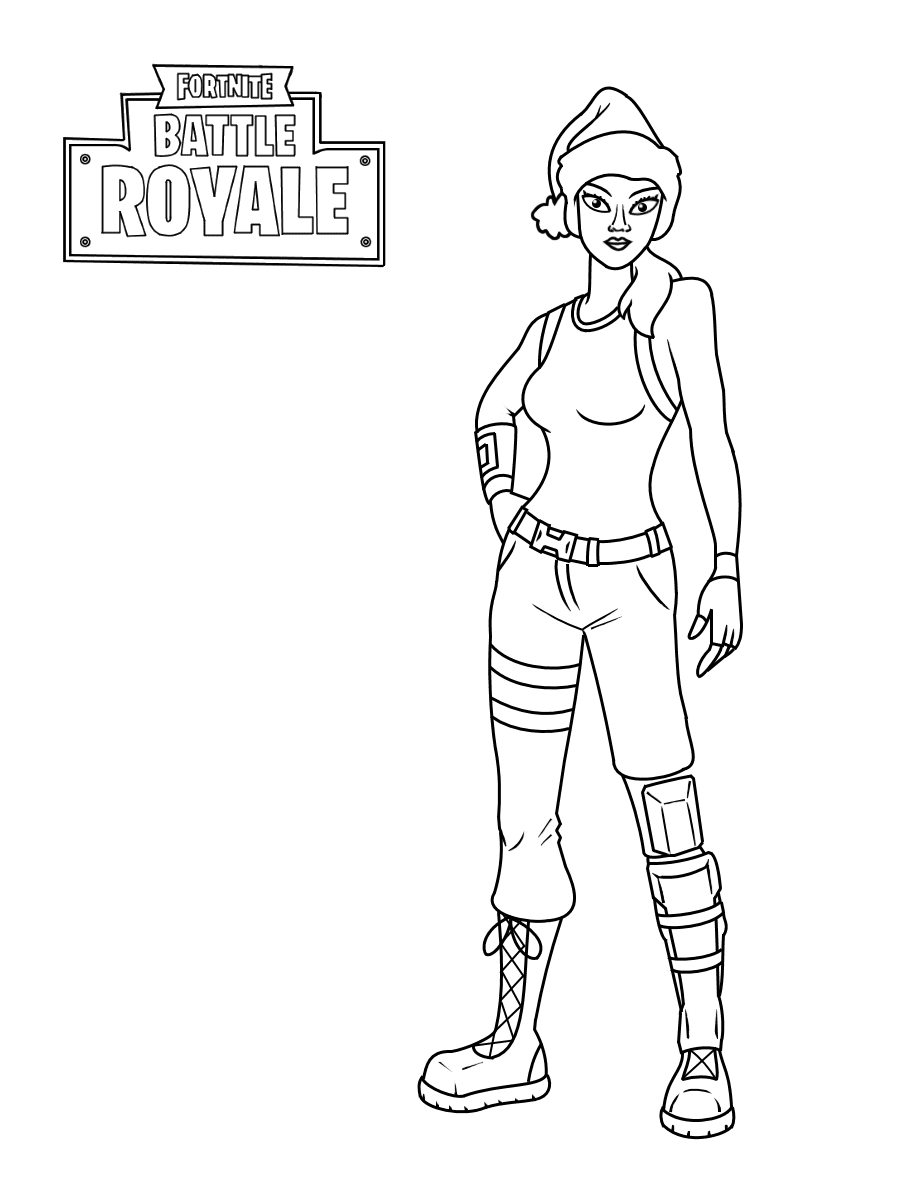 Nog Ops from Fortnite wears a Christmas hat Coloring Page