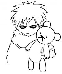 Baby Gaara plays with teddy bear Coloring Page