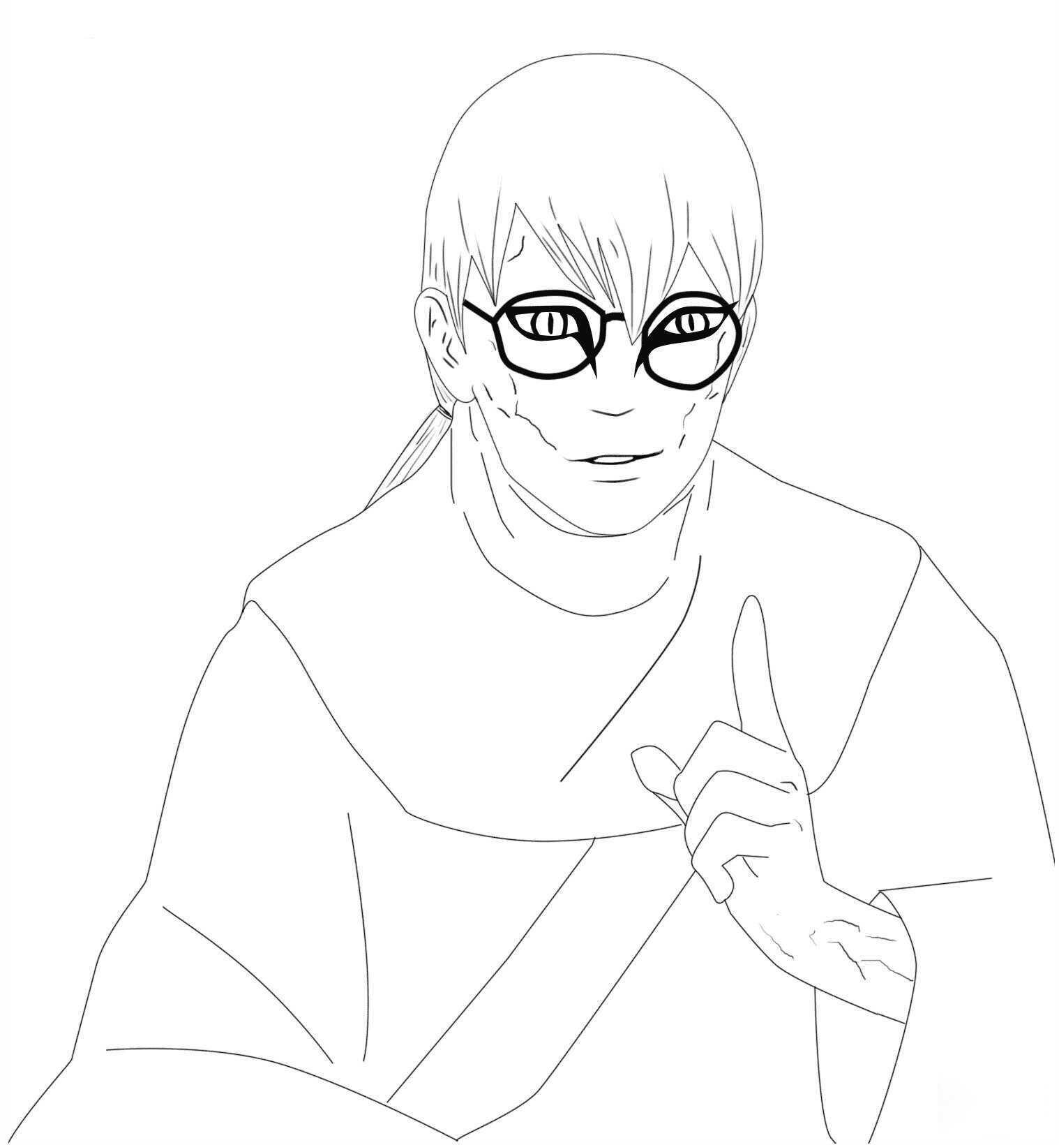 Dr.Kabuto Yakushi has snake eyes Coloring Pages