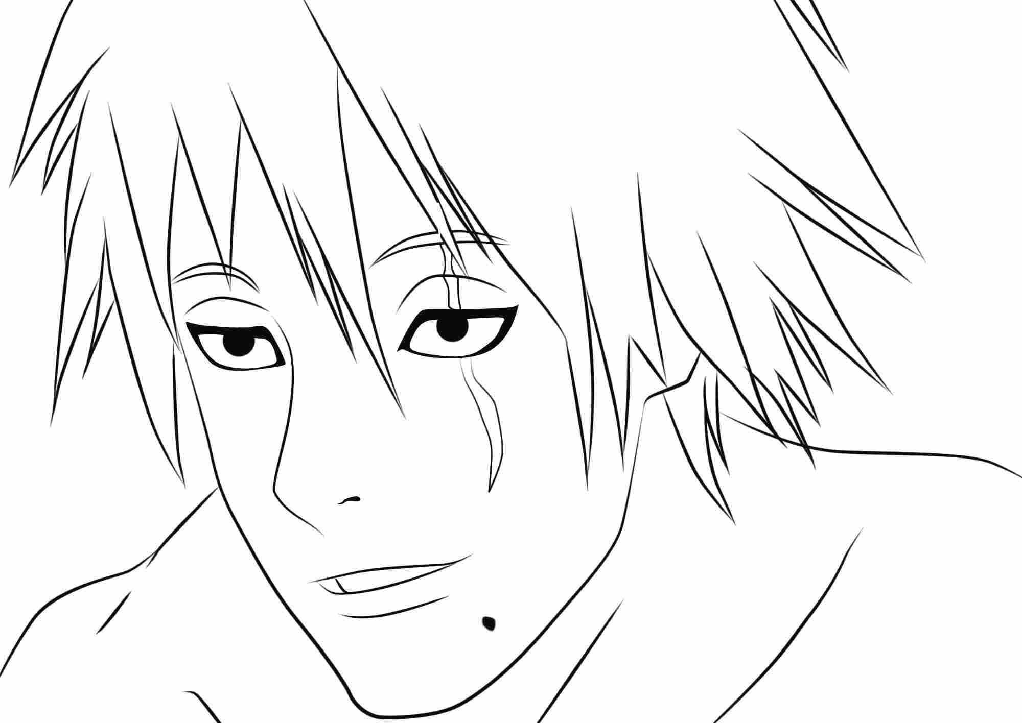 Kakashi from Naruto unmask Coloring Page