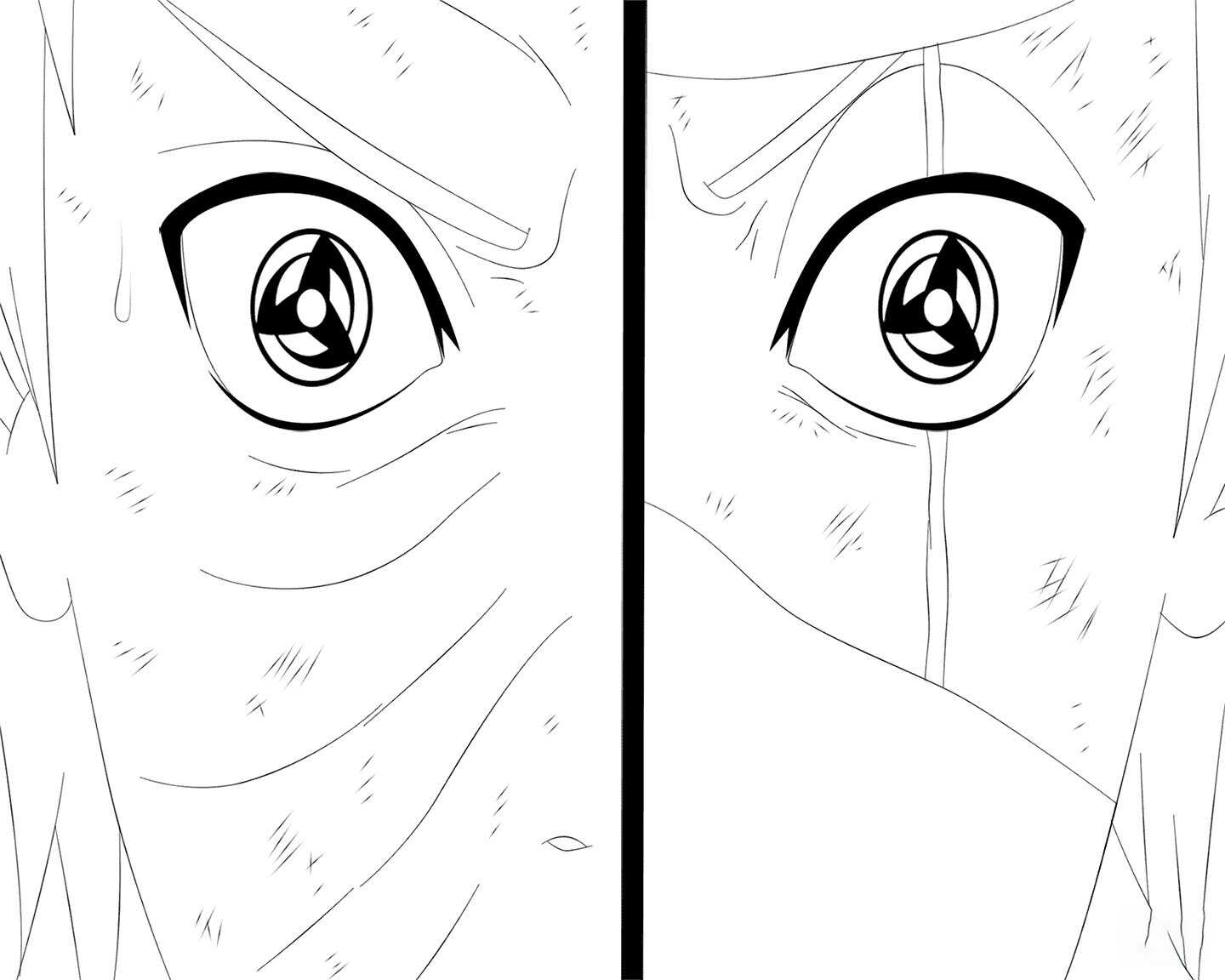 Obito and Kakashi perform Kamui on their eyes Coloring Page