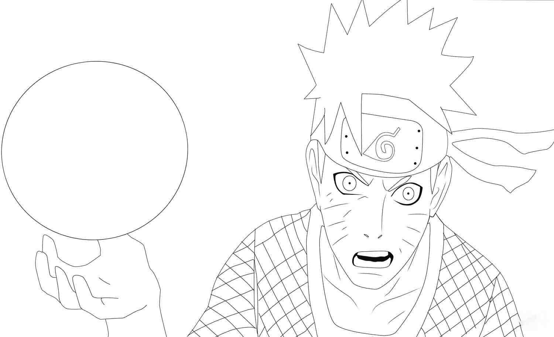 Uzumaki Naruto uses Rasengan in Ninja War 4 Coloring Page