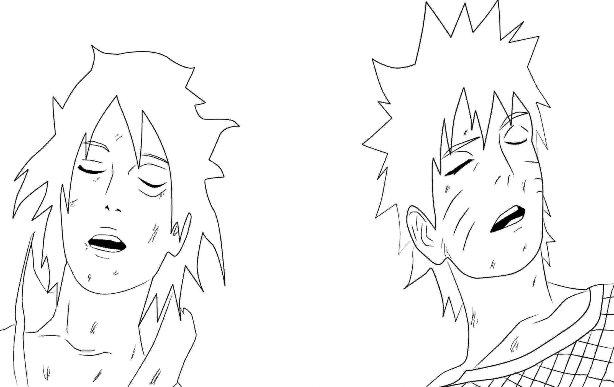 Uzumaki Naruto and Uchiha Sasuke after the fight Coloring Page