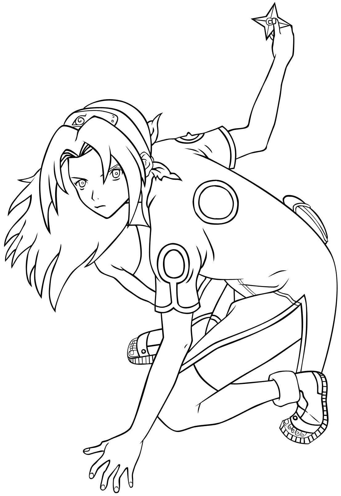 Haruno Sakura from Naruto uses Shuriken  Coloring Page