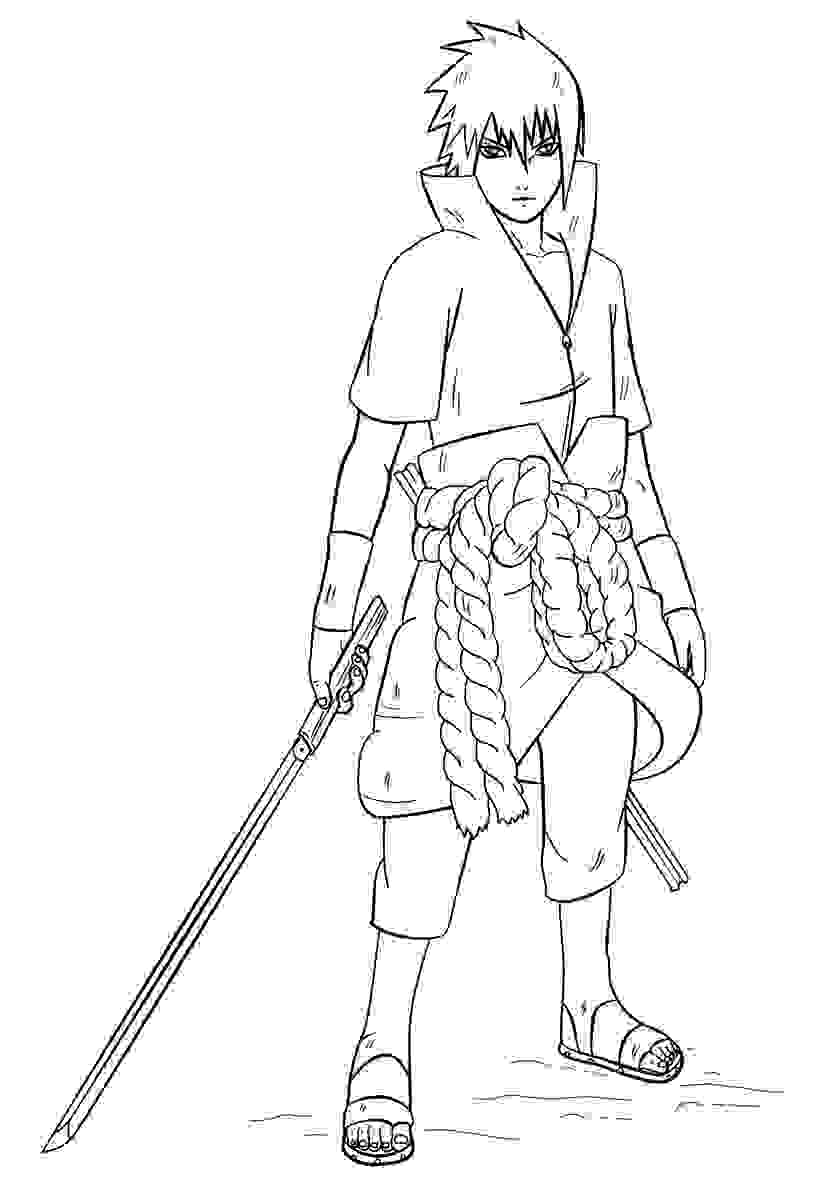 Uchiha Sasuke holds his sword Coloring Pages