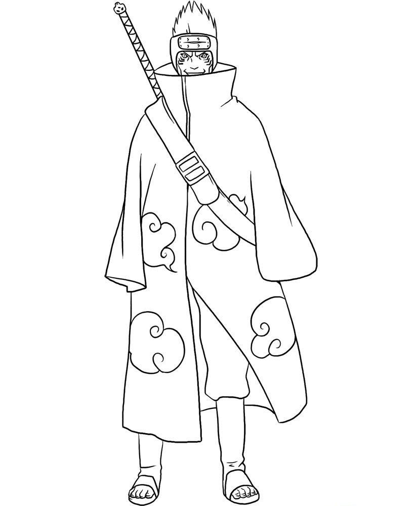 Kisame Hoshigaki belong to Akatsuki Team from Naruto Shippuuden Coloring Page