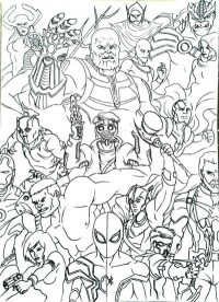 All characters in team of the Avengers fight to Thanos with Infinity Gauntlet Coloring Page