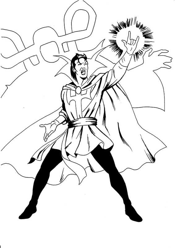 Dr. Strange from Avengers uses Mystic Arts to bind opponents Coloring Pages
