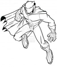 Marvel Superhero Black Panther flies to the sky Coloring Page