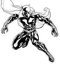 Black Panther with his cloak runs fast Coloring Page