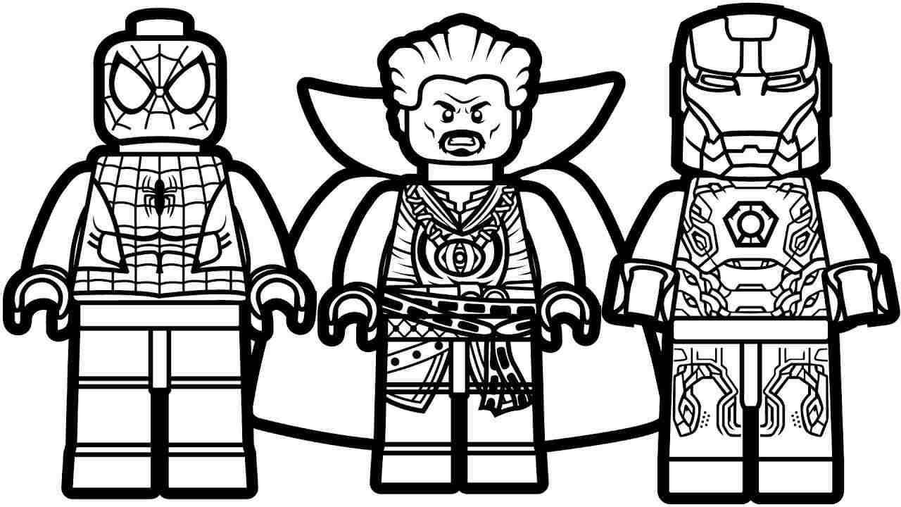 Lego team of Iron man, Spider man and Doctor Strange Coloring Pages